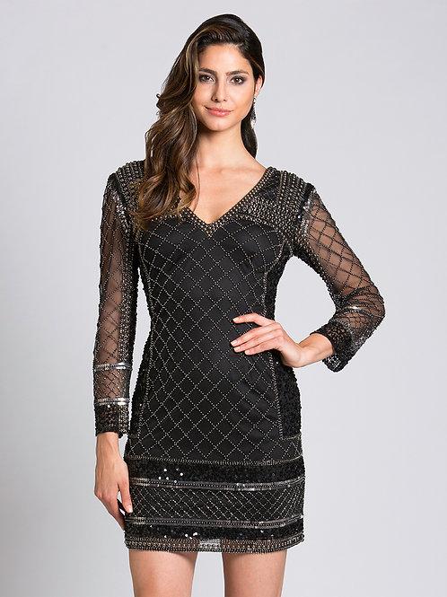 Lara 33138 - Long Sleeved Black Beaded Gown with Mesh Sleeves