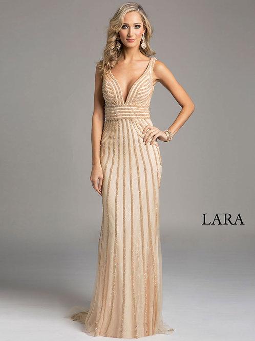 LARA 32938 - Deep V neck sleeveless dress