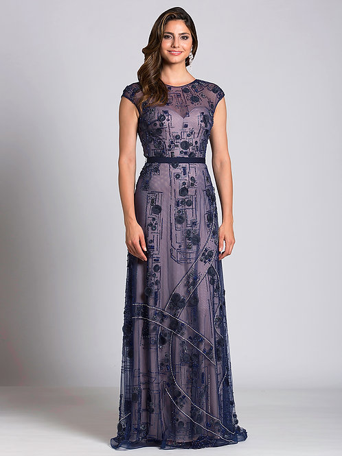 Lara 33525 - 3D Embroidered Illusion Cap Sleeve Gown