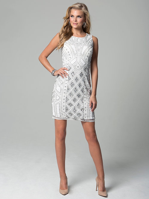 LARA 32893 - Geometric Embroidered Cocktail dress