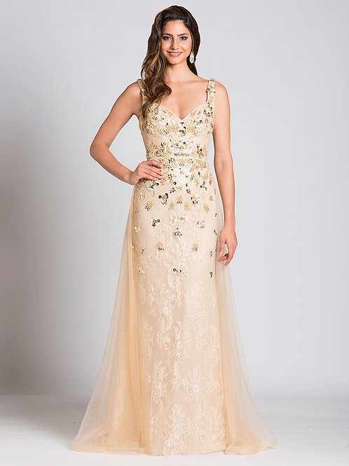 Lara 33528 - Sleeveless 3D Beaded Gown with Lace Underlay