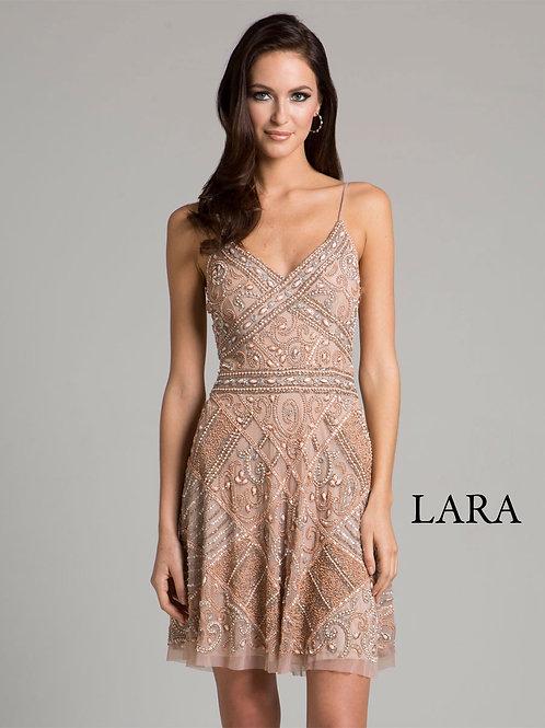 LARA 33409 - Blush embroidered strap cocktail dress
