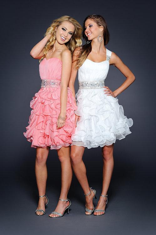 Lara 21686 - Ruffle Skirt Detachable Straps Gown