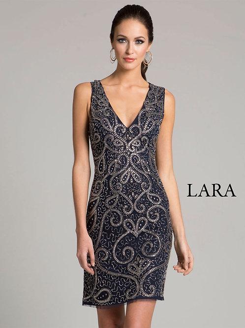 LARA 33419 - Steel grey embroidered Cocktail dress
