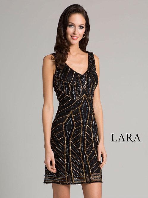 LARA 33295 -Geometric line detail embroidered cocktail dress