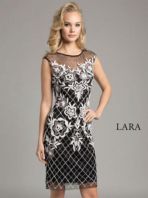 LARA 33265 - delicate tulle neck detailed cocktail dress