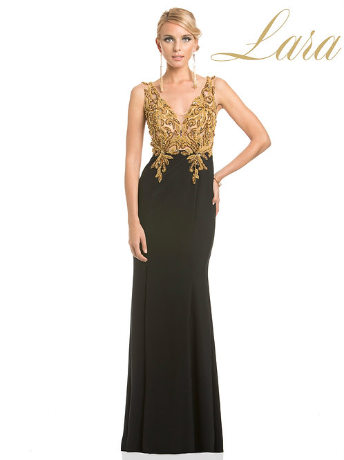 Lara 32611 - Gold Beaded Jersey Gown