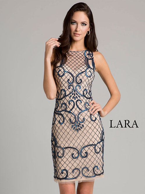 LARA 33420 - Net embroidered Sheer detailed neck cocktail dress