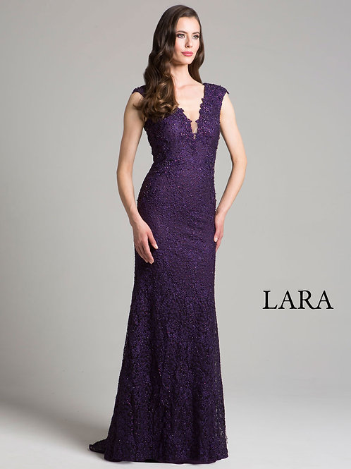LARA 33286 - Deep V embroidered dress