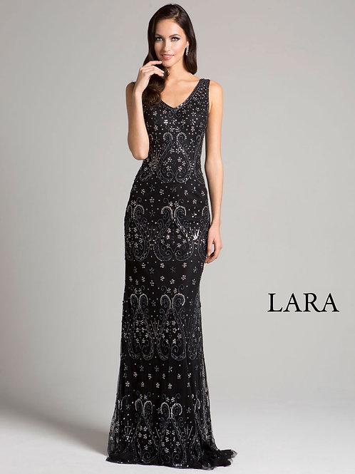 LARA 33293 - Back deep neck embroidered dress