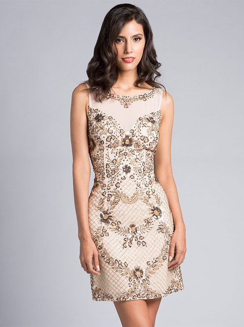 Lara 33133 - Beaded Illusion Neckline Champagne Short