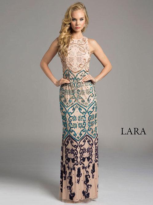 LARA 42632 -Sleeveless Multi color detailed back dress