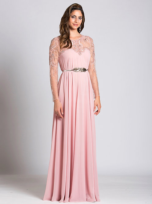 Lara 33529 - Long Sleeve Illusion Neckline A-Line Gown with Belt