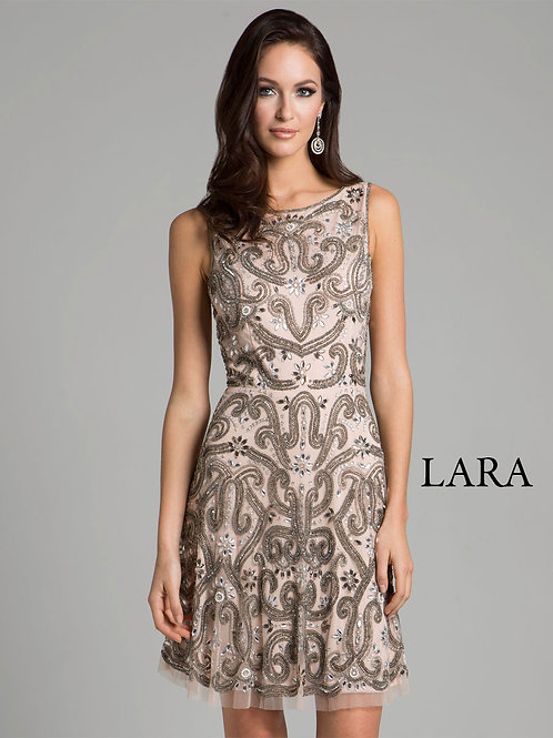 LARA 33408 - Sleeveless Floral embroidered sweep neck Dress