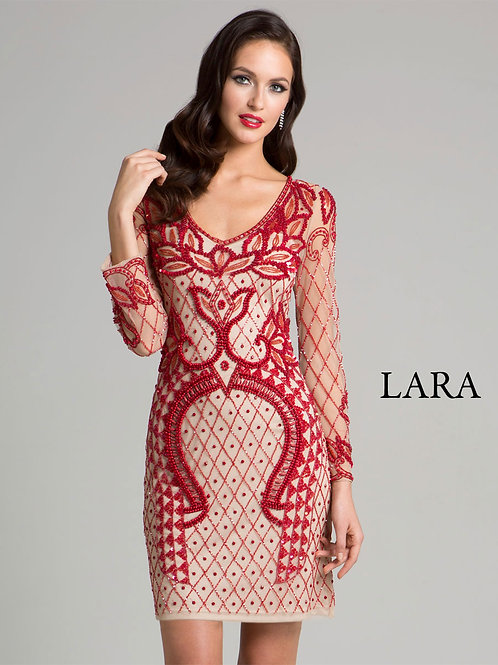 LARA 33413 - Nude Cocktail dress with Red detailed Embroidery