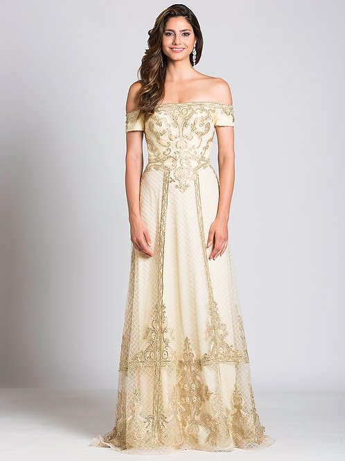 Lara 33520 - Off Shoulder Beaded Champagne Gown