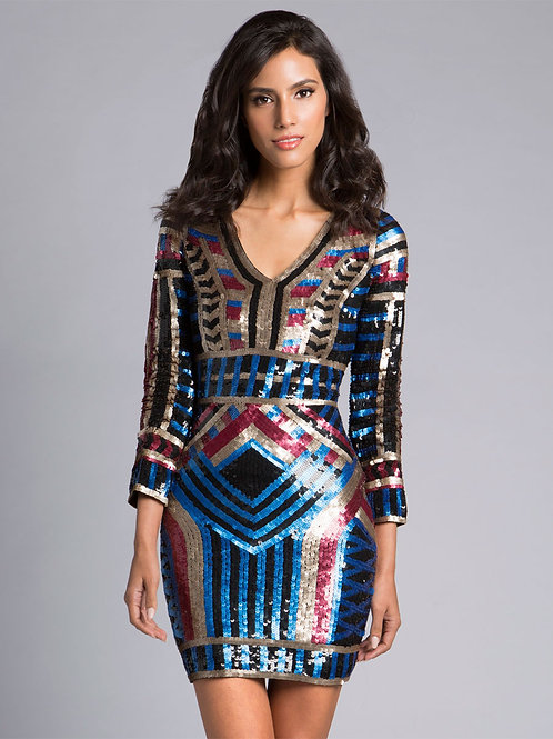 Lara 33440 - Long Sleeve Beaded V-Neck Multi Color Short