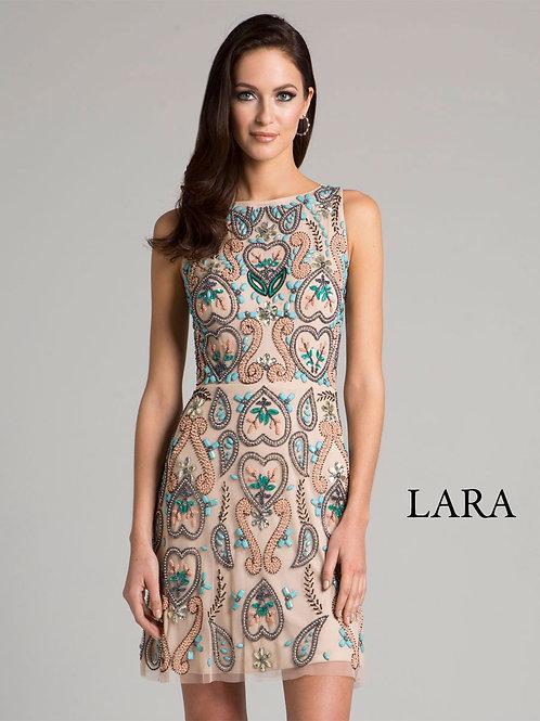 LARA 33418 - Detailed Paisley/Leaf embroidered Cocktail dress