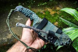 camo kydex sheath on estrela reptilian knife