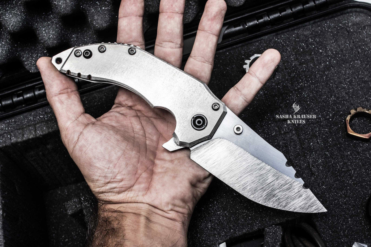 Katharsys drop point folding blade full metal