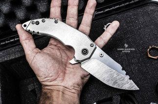 Katharsys drop point folding blade full metal