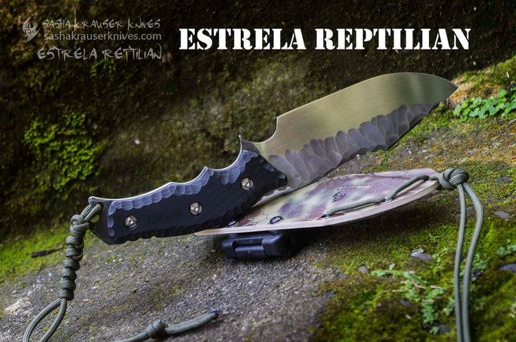 Estrela Reptilian bushcraft drop point knife