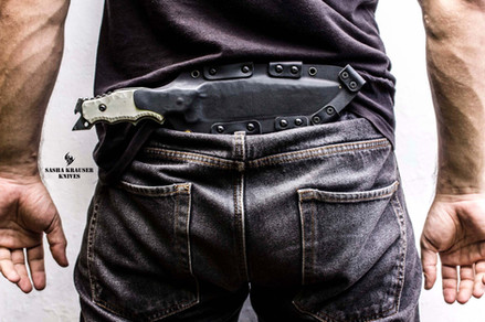Kydex sheath in rear belt horizontal carry
