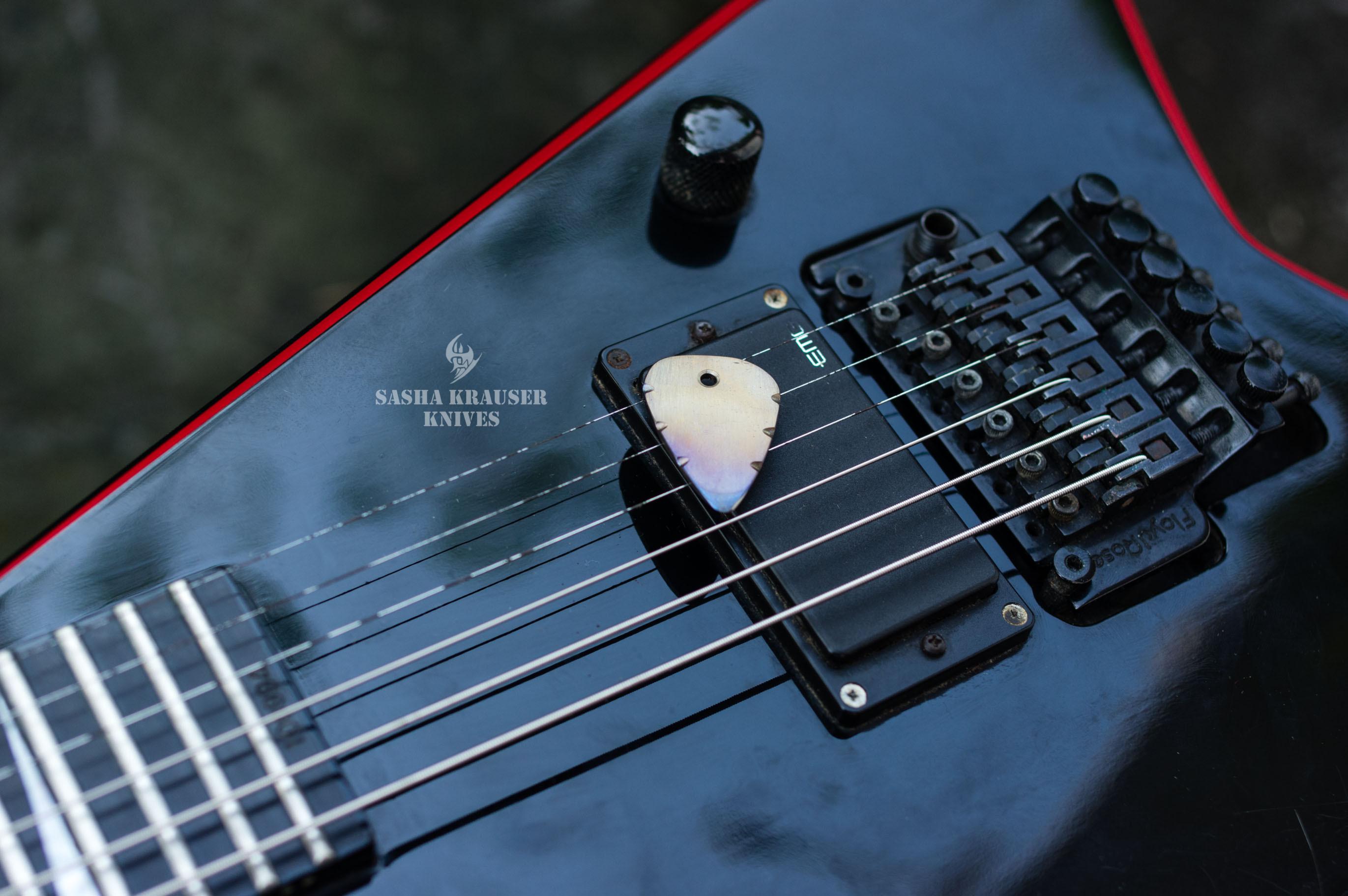 flamed titane guitar pick