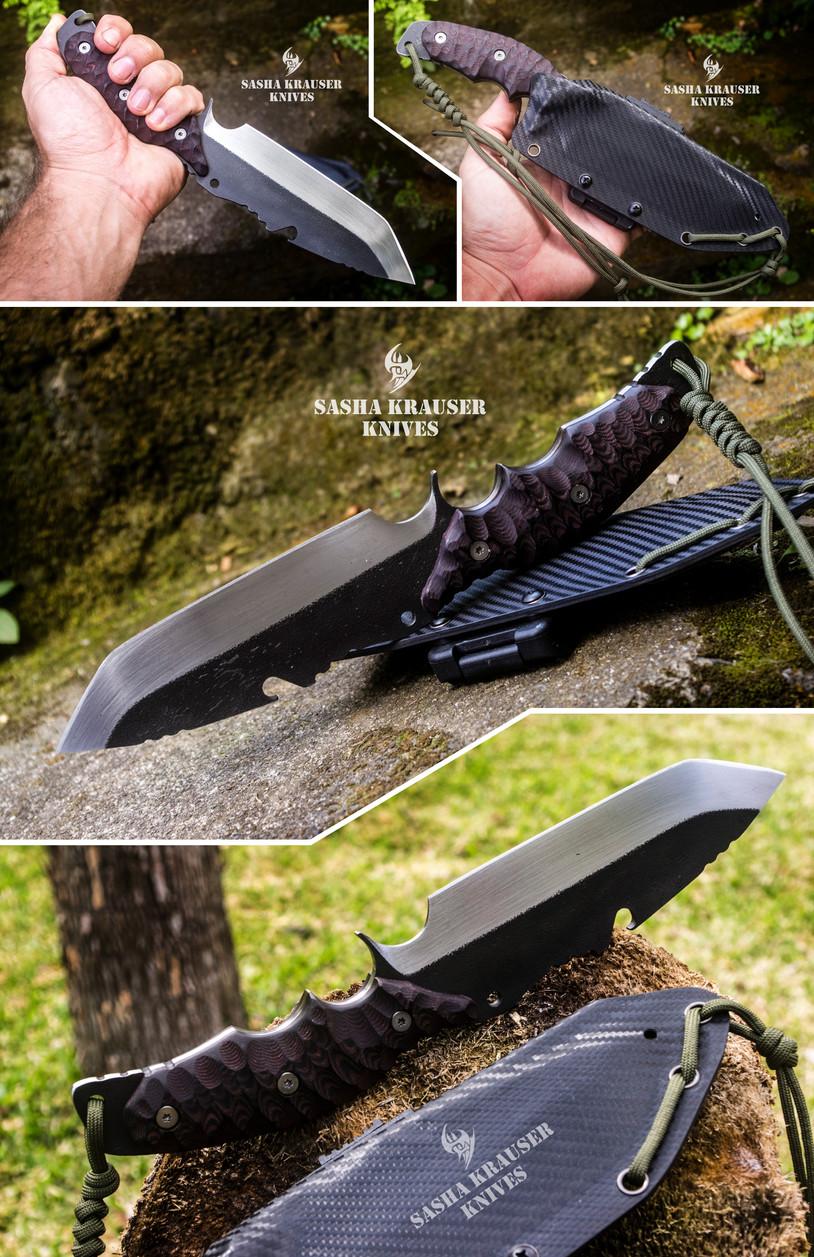 phantom bushcraft survival full tang knife