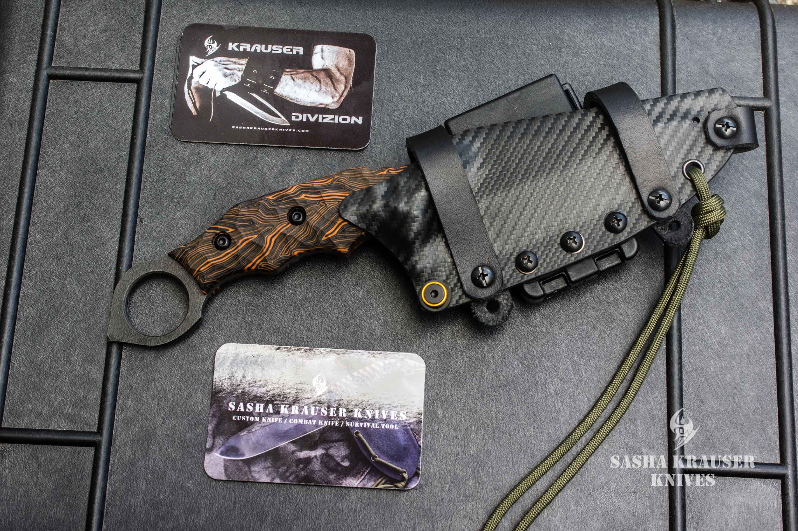 karambit warheart lame spear point manche composite