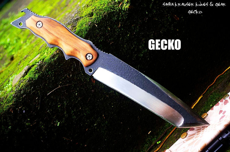 Gecko recurve tanto knife double grind