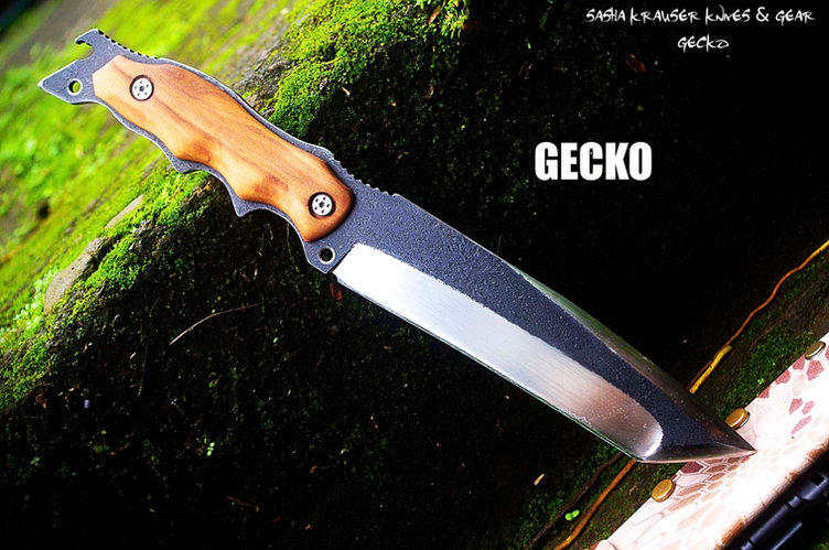 Gecko recurve tanto knife double grind