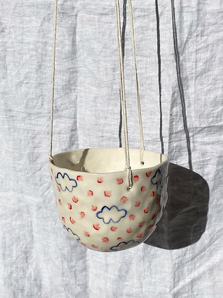floral and cloud hanging planter