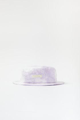 purple tie-dye logo bucket hat