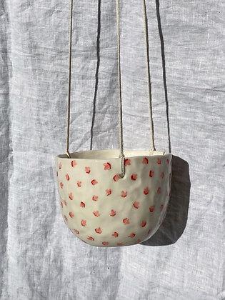 pink flower hanging planter
