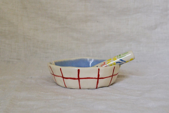 periwinkle and plaid ashtray