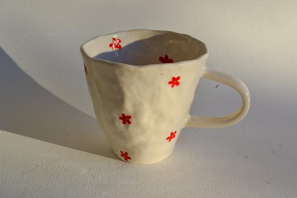red flower power mug