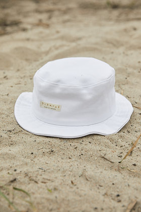 white logo bucket hat