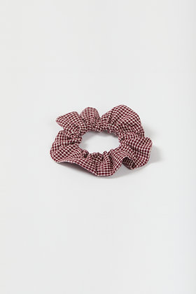 burgundy plaid scrunchie