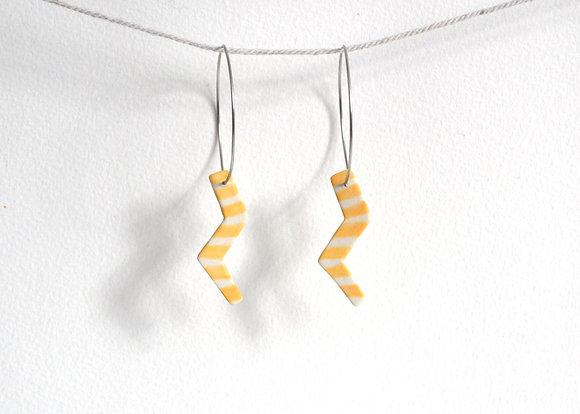 yellow stripe lightning bolt earring