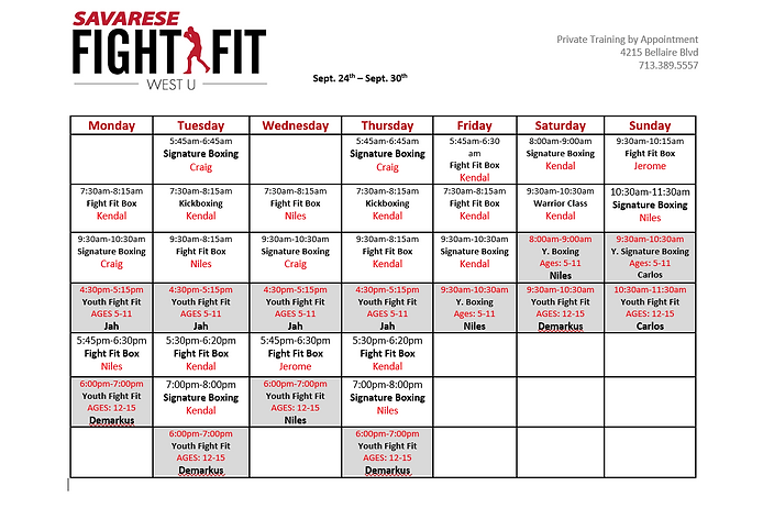 Schedule pic week of Sept 24th to Sept 3
