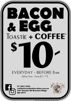 Bacon & Egg Toastie + Coffee