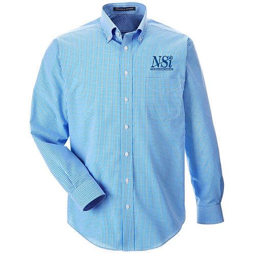NSI Men's Devon & Jones Crown Gingham Woven Shirt (French Blue)