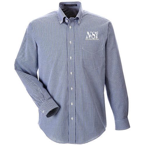 NSI Men's Devon & Jones Crown Gingham Woven Shirt (Navy)