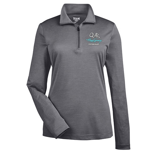 Team365 Women's Sonic Heather 1/4 Zip Hope Springs (Dark Grey Heather)