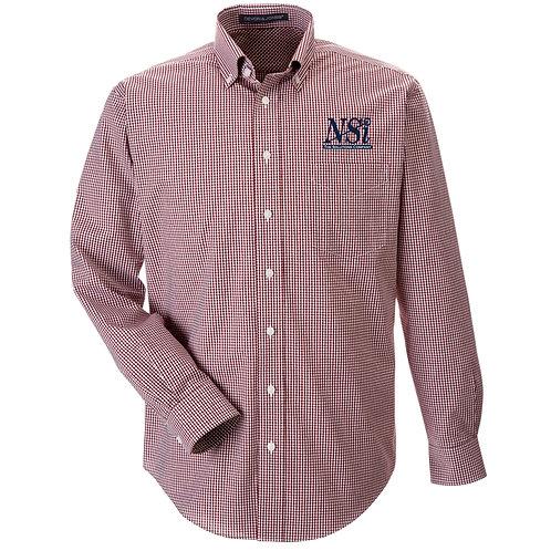 NSI Men's Devon & Jones Crown Gingham Woven Shirt (Burgundy)