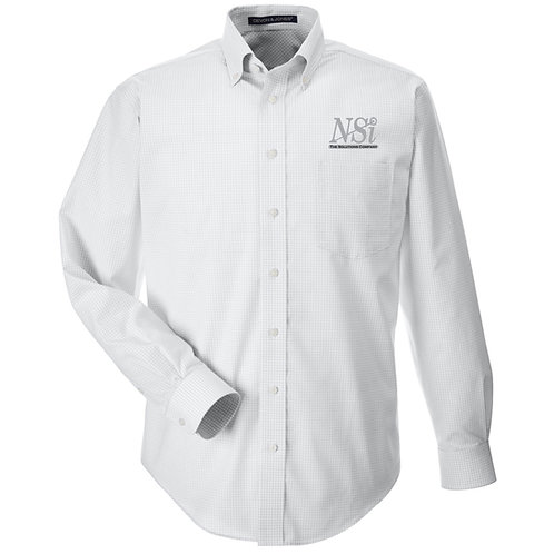 NSI Men's Devon & Jones Crown Gingham Woven Shirt (Silver)