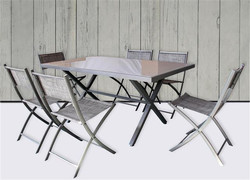 Tavolo con 6 sedie pieghevoli