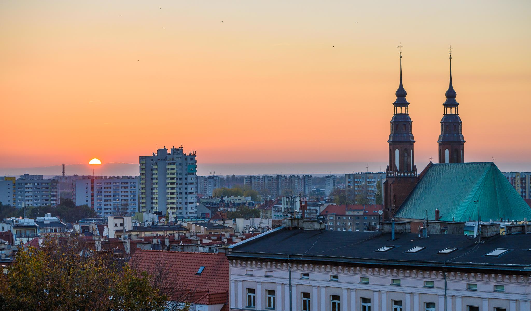 Zachód słońca nad Opolem