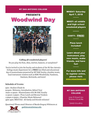 Mt. SAC Woodwind Day 2018